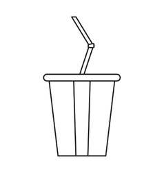 Plastic cup soda with straw drink american vector