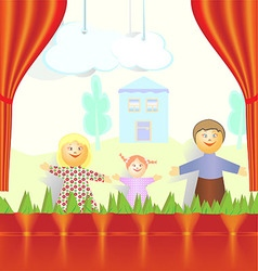 Puppet theater family of mom dad and daughter are vector