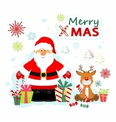 Santa Claus and Rudolf vector image