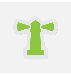 Simple green icon - lighthouse vector