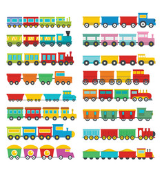 train toy children icons set flat style vector image