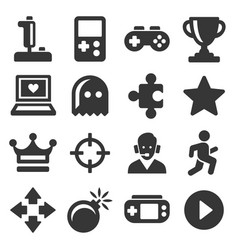 video game and controller icons set vector image