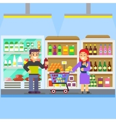 Young parents with baby toddler in supermarket vector image