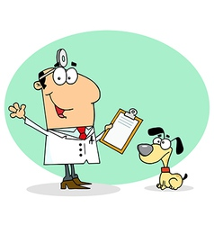 Caucasian cartoon canine veterinarian man vector