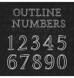 Vintage outline numbers with flourishes numbers in vector