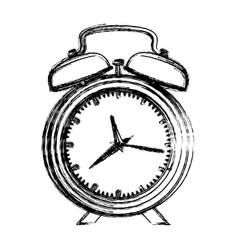 monochrome blurred silhouette with alarm clock vector image