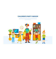 Children have fun with a clown home in room vector