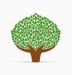 Human hand green tree concept for social help vector
