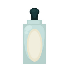Liquid soap in transparent bottle with empty label vector