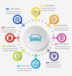 Infographic template with transportation icons vector