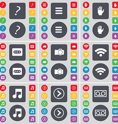 Quotation mark Apps Hand Cassette Wi-Fi Note Arrow vector image
