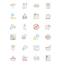 Hotel and restaurant colored line icons 7 vector