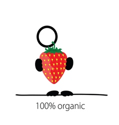 Holding strawberry organic color vector