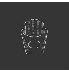 French fries drawn in chalk icon vector