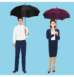 Men and woman with umbrella isolated concept vector