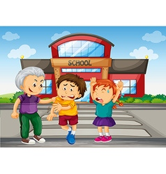 Bully boy picking up on kids at school vector image