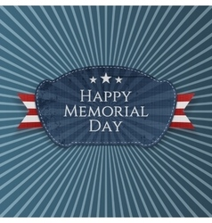 Happy memorial day festive badge with ribbon vector