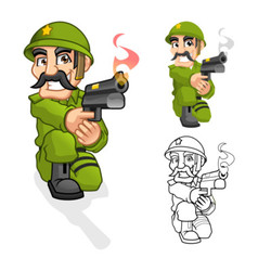 Captain army aiming a handgun with shoot pose vector