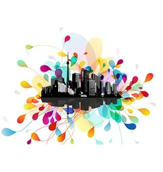 Abstract sky with floating city scape vector