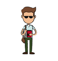 boy cartoon student character with sunglasses book vector image vector image