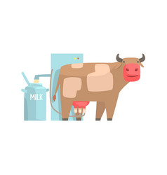 cow milking facility mechanized milking equipment vector image