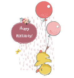 Cute duck with balloons vector