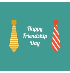 Happy friendship day neck tie icon set flat design vector