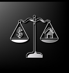 House and dollar symbol on scales gray 3d vector