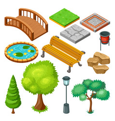 isometric summer park landscape elements set vector image vector image