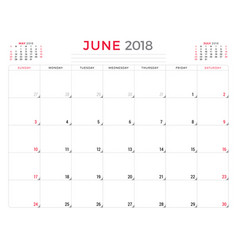 june 2018 calendar planner design template week vector image