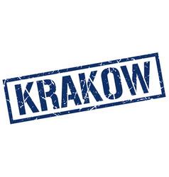Krakow blue square stamp vector