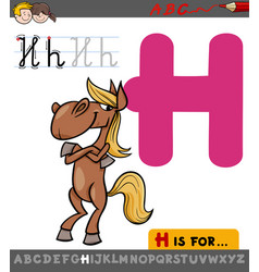 Letter h with cartoon horse vector