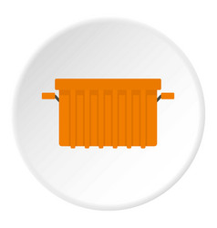 Orange garbage tank icon circle vector