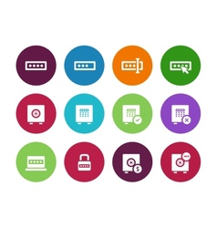 Password circle icons on white background vector image vector image
