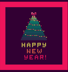 pixel art greeting card with christmas tree vector image