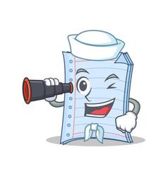 Sailor with binocular notebook character cartoon vector