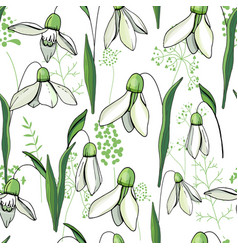 Seamless floral decorative pattern with snowdrops vector