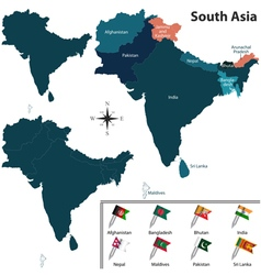South asia with flags vector
