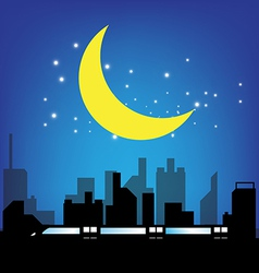 transport and city at night vector image