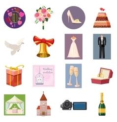 Wedding icons set cartoon style vector image