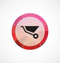 Wheelbarrow circle pink triangle background icon vector