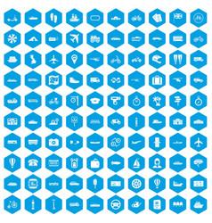 100 public transport icons set blue vector