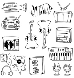 Doodle of tool music set vector