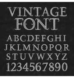 Vintage patterned letters and numbers font in vector