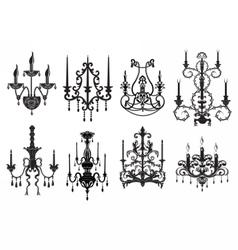 Classic chandelier set vector