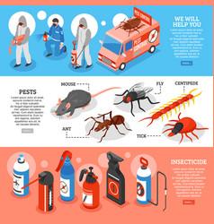 Pest control isometric horizontal banners vector