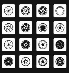 Photo diaphragm icons set squares vector