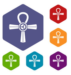 Egypt ankh symbol icons set hexagon vector