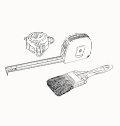 Tape measure and paint brush tools set sketch vector