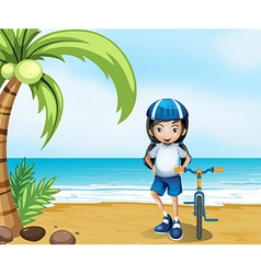 A female biker standing at the beach vector